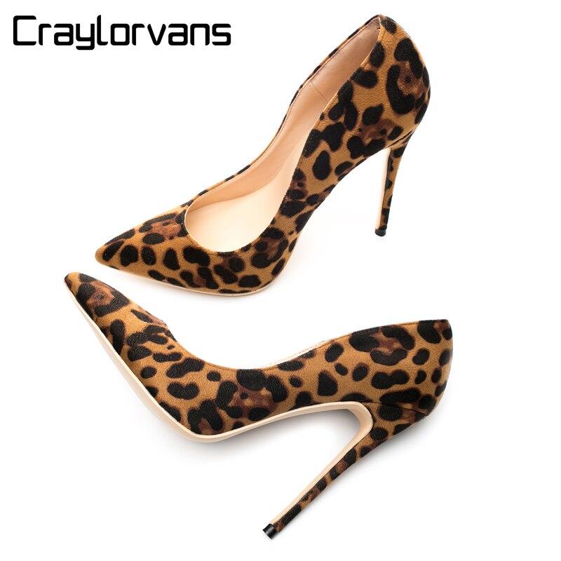 Craylorvans 12/10/8CM Heel Height Flock Leopard Classical High Heels Sexy Wedding Party Women Shoes 2018  Autumn dames schoenen