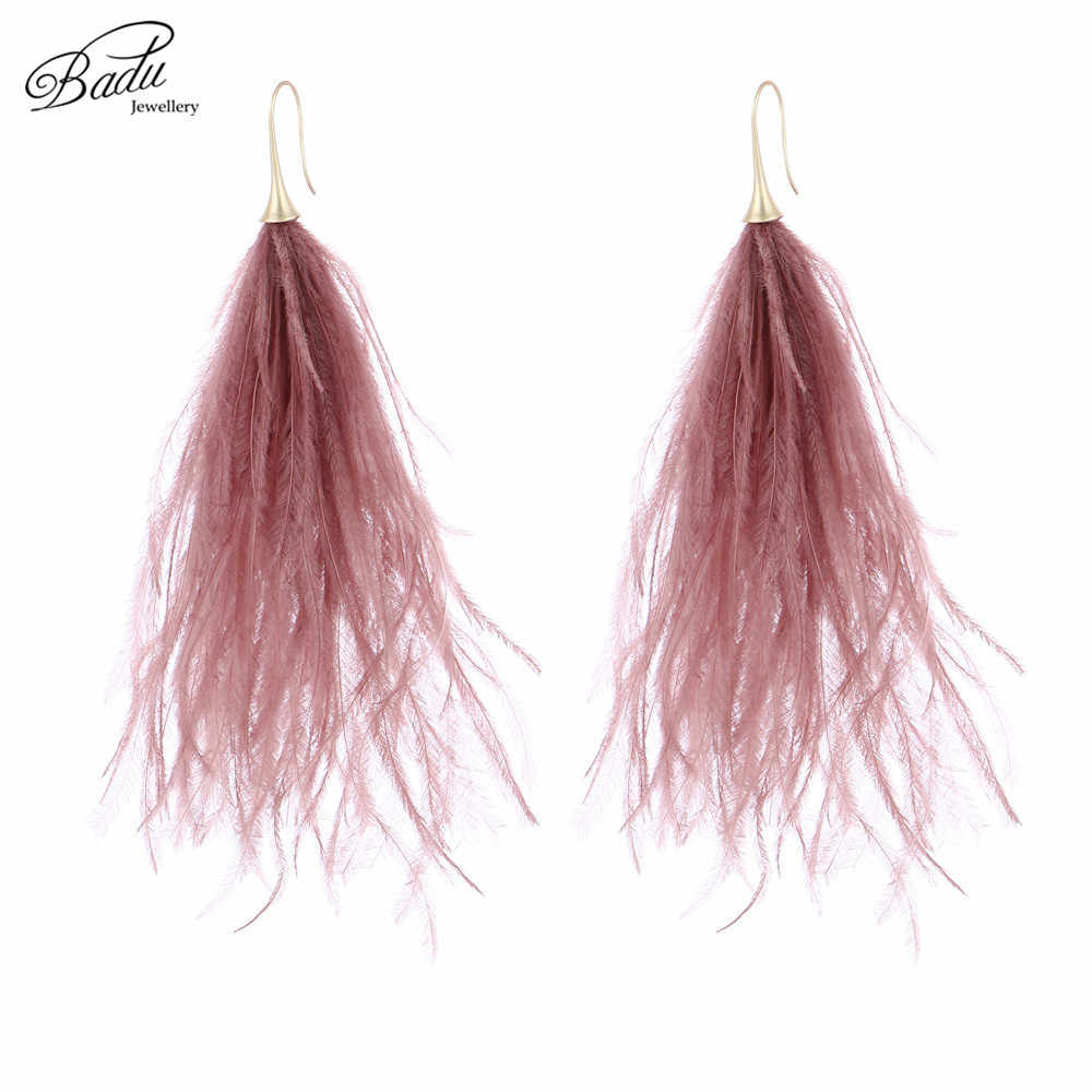 Badu Long Earring for Women Ostrich Feather Light Weight Vintage Beach Jewelry 2018 Spring New Fashion Gifts Drop Shipping
