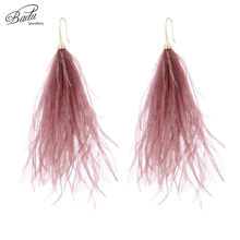 Badu Long Earring for Women Ostrich Feather Light Weight Vintage Beach Jewelry 2018 Spring New Fashion Gifts Drop Shipping(China)