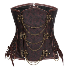 Sexy Brown Chain Underbust Corset Steampunk Vintage Steel Boned Corsets&Bustiers Gothic Clothing Korsett For Women Plus Size 6XL