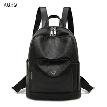 AOEO travel backpack women PU leather with Anti theft small pocket Waterproof school bags for girls Mini small backpack Female