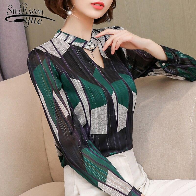 2019 fashion print chiffon   blouse   women   shirt   long sleeve plus size women tops stripe OL   blouse   women's clothing blusas 0092 30