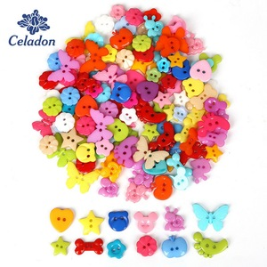 50Pcs Colorful Cartoon Resin Buttons For Baby Kids Clothes 2 Holes Sewing Buttons Scrapbooking Garment DIY Apparel Accessories