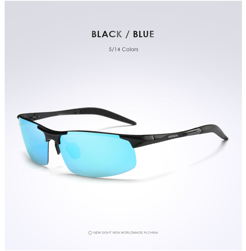 AORON Driving Polaroid Sun Glasses Aluminum Frame Sports Sunglasses Men Polarized Driver Retro UV400 Anti-glare Goggles 7