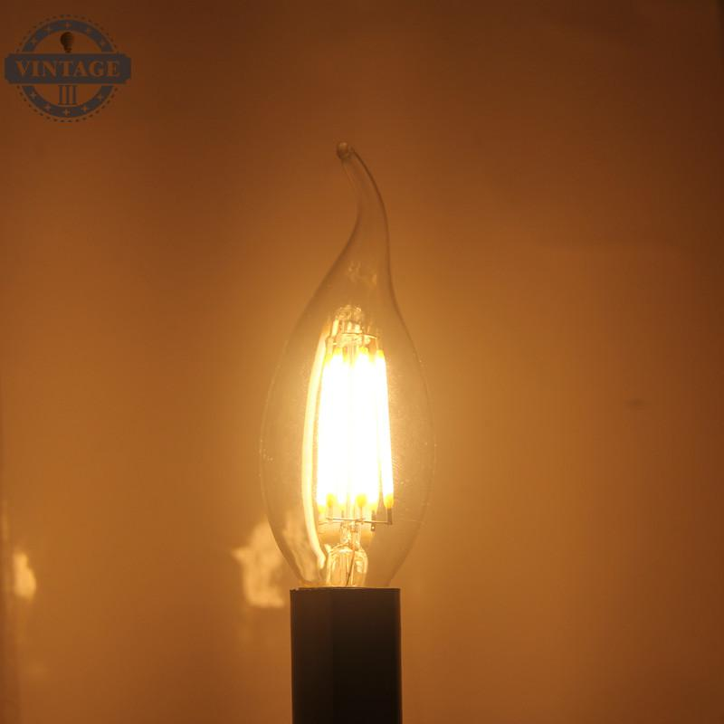Edison Crystal chandeliers LED Filament Bulb LED Candle Lamp E14 C35 B10 2w 4w 6w Flame Frosted Retro light 220v AC CE RoHs