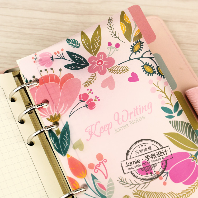 A5 A6 A7 Spiral Notebook Loose Leaf Transparent PP Separator Pages Flowers 5 sheets Separate Match filofax Kikkik binder inner page notebook loose leaf papery separator index paper separation divider page 5 sheets matching filofax kikkik