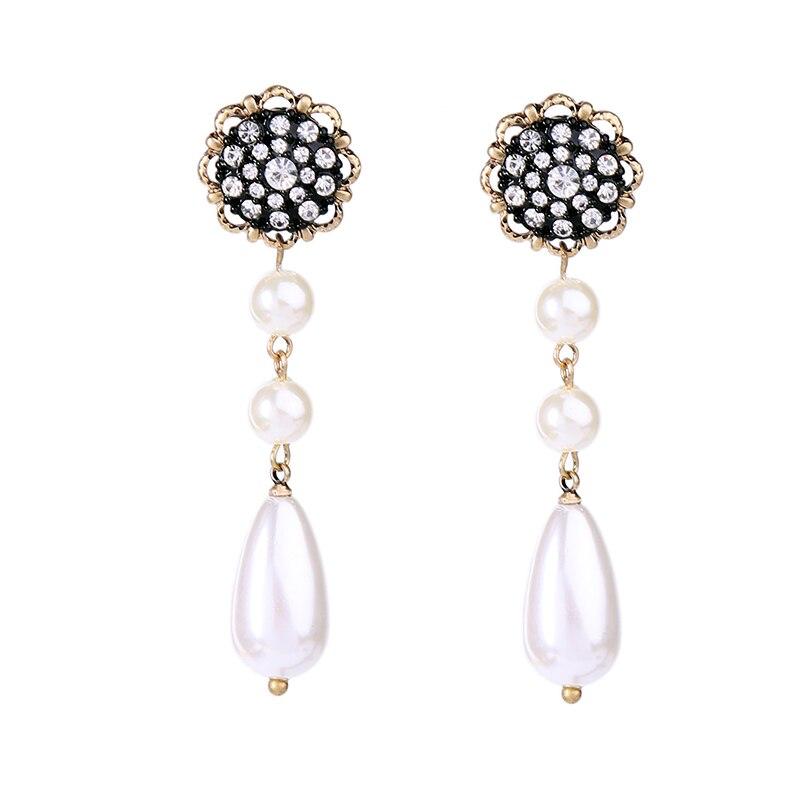 Modern Wedding Jewelry Fashion Acrylic Pearl Water Drop Earrings High End Crystal Flower Long Dangle Earring Women Gift In From