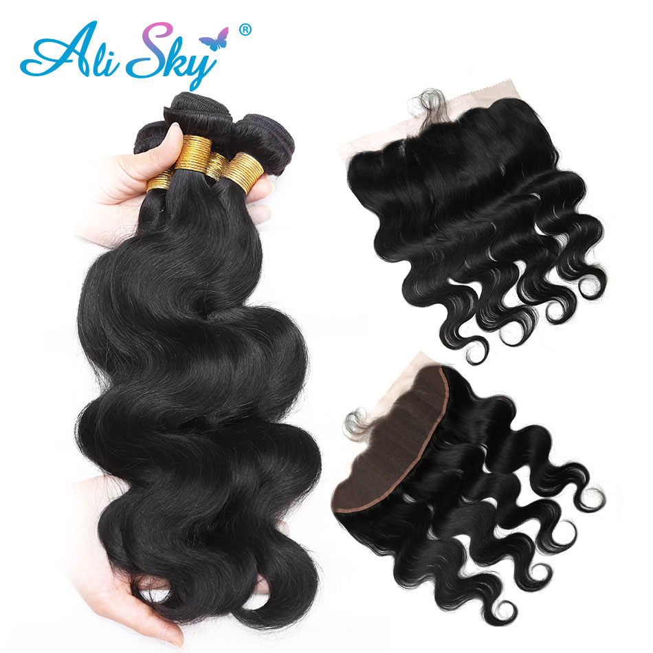 3/4 Bundles With Closure 3 Bundles Malaysian Body Wave With 13x4 Pre Plucked Lace Frontal With Baby Hair With 100% Human Hair Non Remy Ali Sky Black 1b Products Are Sold Without Limitations