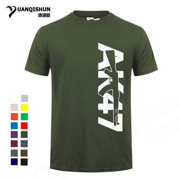 Boutique Men Tops Tees 2018 Summer Fashion New AK47 Printed T Shirt Short Sleeve Men AK 47 Rifle Gun Personalized T Shirts 3XL Αντρικές Μπλούζες Ρούχα MSOW