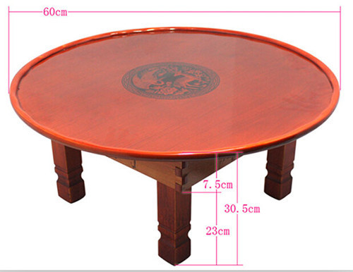 Korean Coffee Table Folding Leg Round 60cm Asian Antique Furniture Floor Table for Dinning Traditional  Living Room Wood Table