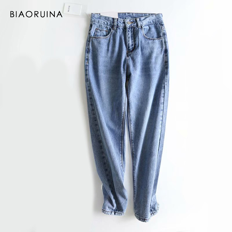 BIAORUINA Women Vintage Denim All-match Washing   Jeans   Female Cotton High Street Pencil   Jeans   Ankle Length Spring New Arrival