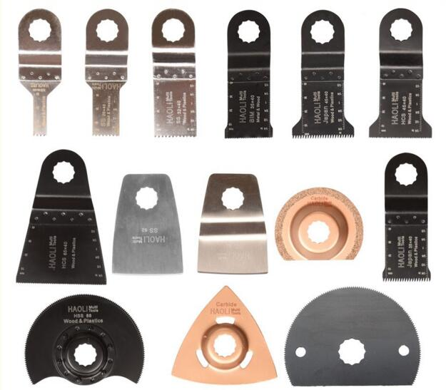 """14 vnt svyruojančių daugiafunkcinių pjūklų peilių priedai tvirtiems """"AEG Worx"""" ir kt. """"Multimaster"""" elektriniams įrankiams, su HSS geležte, metalo pjovimas"""