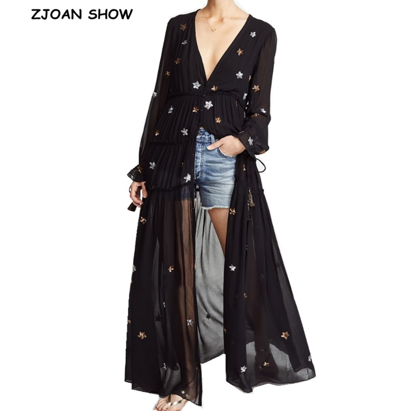 2019 NEW Bohemian V neck Embroidery Star Long sleeve Ankle length Dress Women Single breasted Button