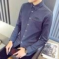 2016 мужские случайные рубашки осенняя мода мужчины рубашка с длинным рукавом бренд одежды хлопка мягкий мужская одежда Slim Fit Рубашка Плюс размер