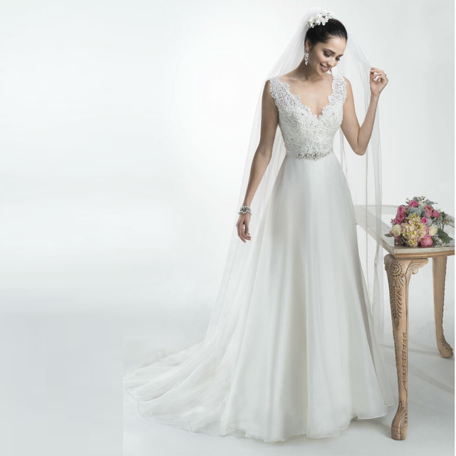 Elegant A Line Chiffon Top Lace Tank Wedding Dresses With Ribbons ...