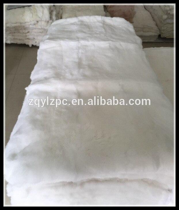 Plaque de fourrure de lapin Rex blanc naturel de qualité supérieure