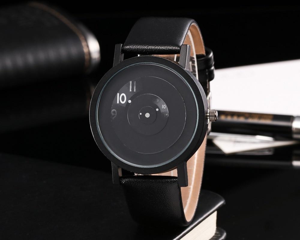 Men Women Black Geek Fashion Casual Waterproof Cool Minimalist Unisex Quartz Leather Strap Wristwatches Relogio Sport Watches