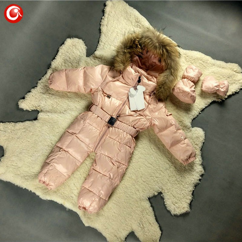 6M-4T Baby Girls White  Duck Winter Down Coat +Down Gloves Clothes Kid Boys Ski Snow Thick Hooded Warm Jacket Clothing Snowsuit (10)