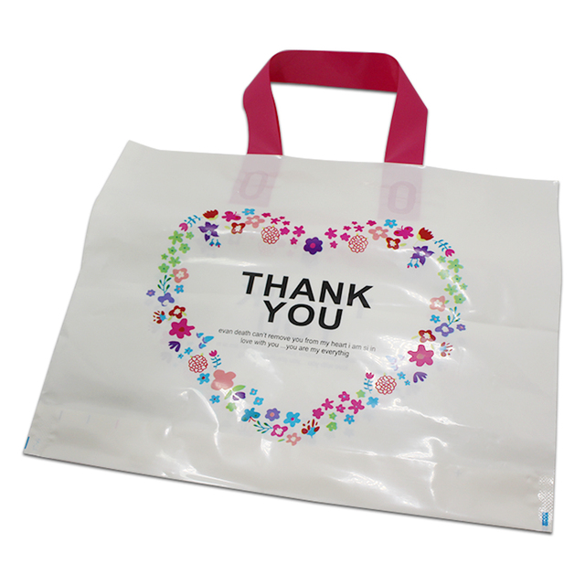 Dhl 200pcs White Plastic Ping Bag With Handle Carrier Thank You Heart Flowe Print Boutique Packaging