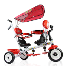 Child Tricycle Twin Stroller Bicycle Double Stroller Face To Face Baby Carriage Three Wheels Stroller Travel Car Baby Pram 2in 1