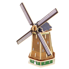 3D Wood Puzzles Cubic Wooden Puzzle World's Building Blocks Construction Kids Educational Toys Gift Dutch Windmill