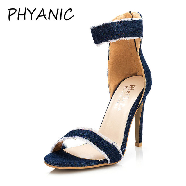 a7bad7c6c12 PHYANIC Women Ankle Straps Sandals Denim Cloth Thick Block High Heel  Platform Shoes Casual 2018 Women Summer Sandals CPW3132