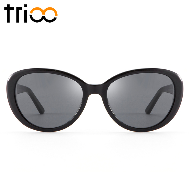 eabb8624bd TRIOO Oval Shortsighted Prescription Sun Glasses Women Black UV Block  Spring Hinge Eyewear Female Driving Diopter