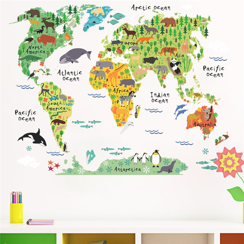 New 037 cartoon animals world map wall decals for kids rooms office new 037 cartoon animals world map wall decals for kids rooms office home decorations pvc wall stickers diy mural art posters in wall stickers from home gumiabroncs Gallery