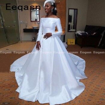 Robe de soiree Custom Long Sleeves Vintage Wedding Dress 2020 African Court Train Satin Ball Gown Wedding Bridal Gowns