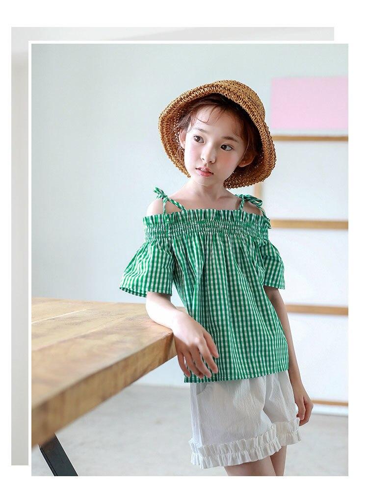 0a87ceaea Preppy estilo moda niños adolescentes blusas para niñas Primavera Verano 2018  coreano bebé niñas tops blusa niña niños ropa verde 4 5 6 7 8 9 10 11 12 13  14 ...
