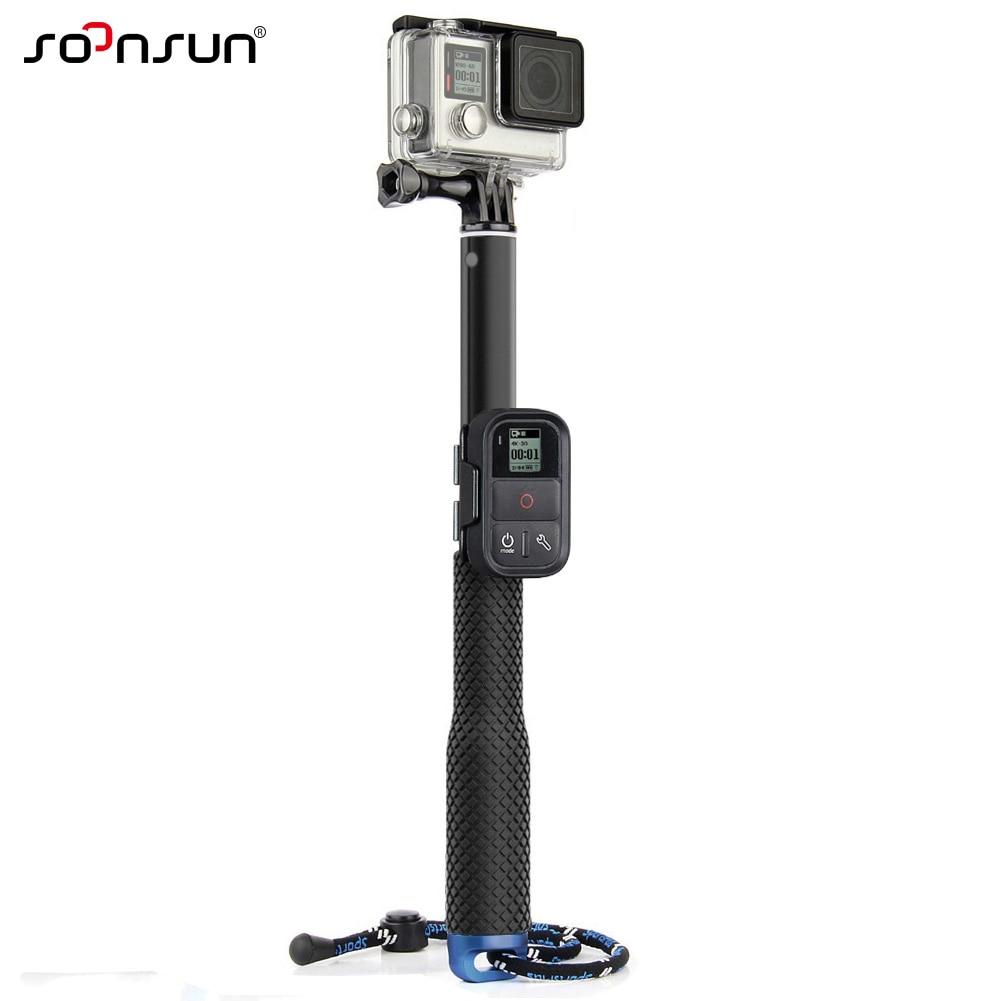 TEKCAM Action Camera 11.25-37 inch Selfie Stick Adjustable Aluminium Telescoping Handheld Monopod Pole Compatible with Gopro Hero 6 5// Victure//Crosstour//AKASO//Campark//APEMAN 4k Waterproof Camera