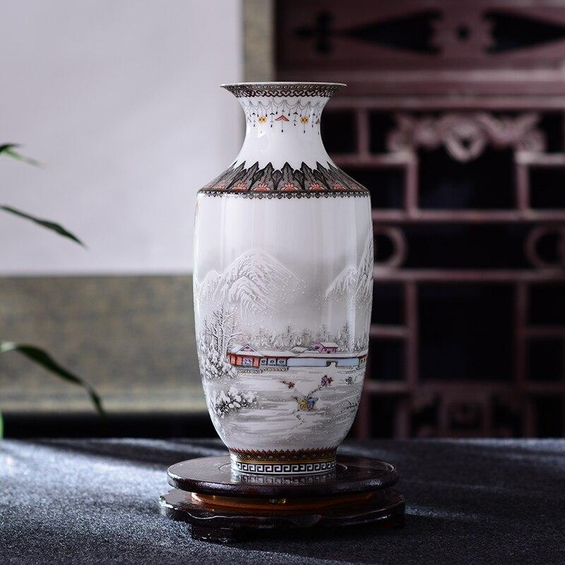 Antique Jingdezhen Ceramic Vase Vintage Vase Desk Accessories Crafts Snow Flower Pot Traditional Chinese Style Porcelain Vase