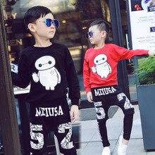 Boys Clothing Sets Children Clothing Autumn Cartoon Big Hero 6 Boys Tops + Letters Printed Pants Outfit Set Kids Sport Suit