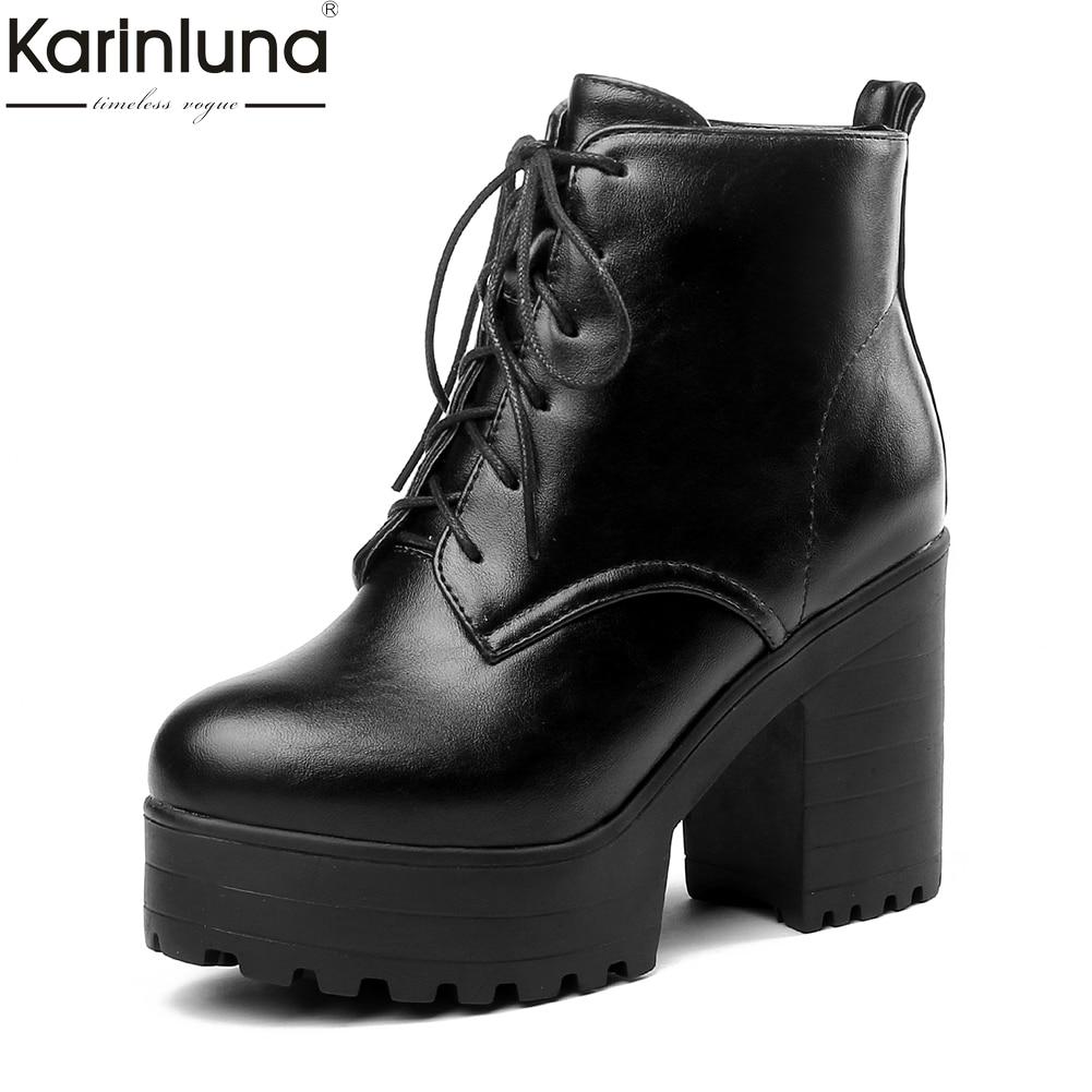 Karinluna 2018 Große Größe 33-44 Fashion Zip Up Frauen Schuhe Frau Stiefel Chunky high Heels Plattform Stiefeletten frau Schuhe