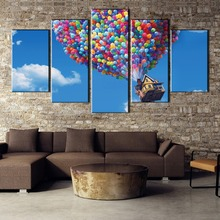 HD Printed 5 Pieces Flying House Up Futurama Movie Painting Canvas Wall Art Picture Home Decoration Living Room