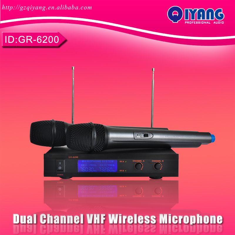 Freeboss GR-6200 Dual Channel cheap microfone professional ktv karaoke VHF mic Wireless Microfono Karaoke  system GR-6200 professional handheld dynamic karaoke mic vhf wireless microphone system with receiver for ktv fio microfone mikrofon microfono