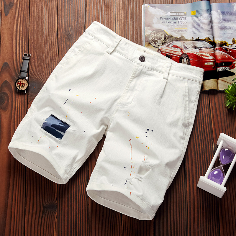 Summer Elastic Shorts Men Casual Cotton Mens Shorts Brand Fashion Short Male Solid Stitching Paint-ink Short Bermuda M-4XL 28-39