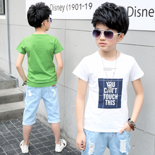 Hot Sale Kids T shirt for Boys Summer Casual Cotton Short Sleeve Print Letter Tshirt Tee Tops Fashion Teenage Boys Clothes casual letter print jewel neck short sleeve tee for women