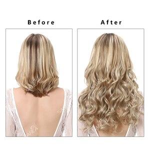 Image 4 - SARLA 10 יח\חבילה ברזילאי 5 קליפים בתוספות שיער עמוק גל ארוך סינטטי פאה טמפרטורה גבוהה 888 משלוח חינם