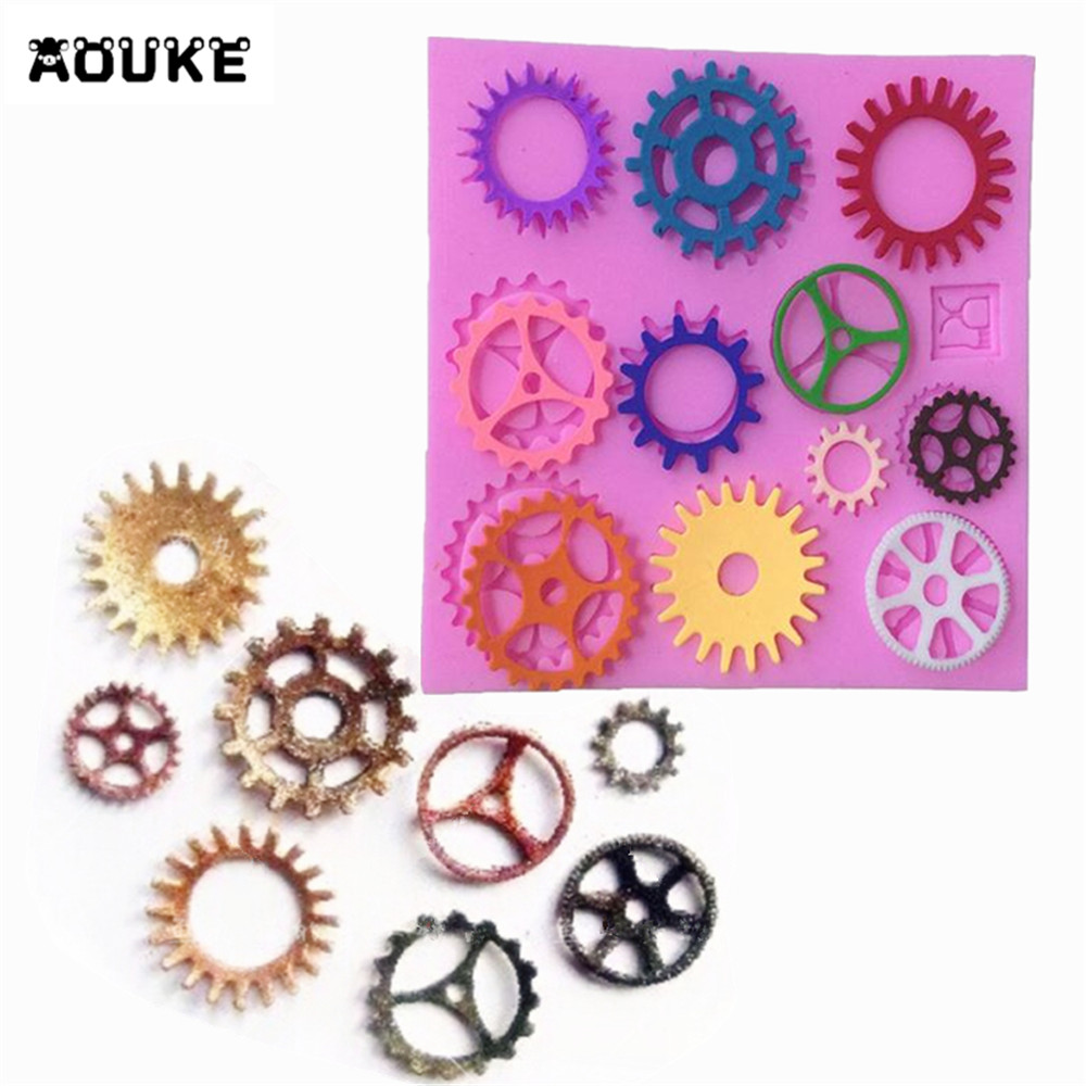 DIY Tools about New small Gear adornment Roller steam era Liquid Silicone Cake Mold/Pastry Mould/Jello Pudding/Chocolate Molds