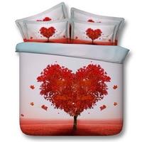Red heart tree Digital print Bedding Set Quilt Cover Design Bed Set Bohemian a Mini Van Bedclothes 3pcs JF155