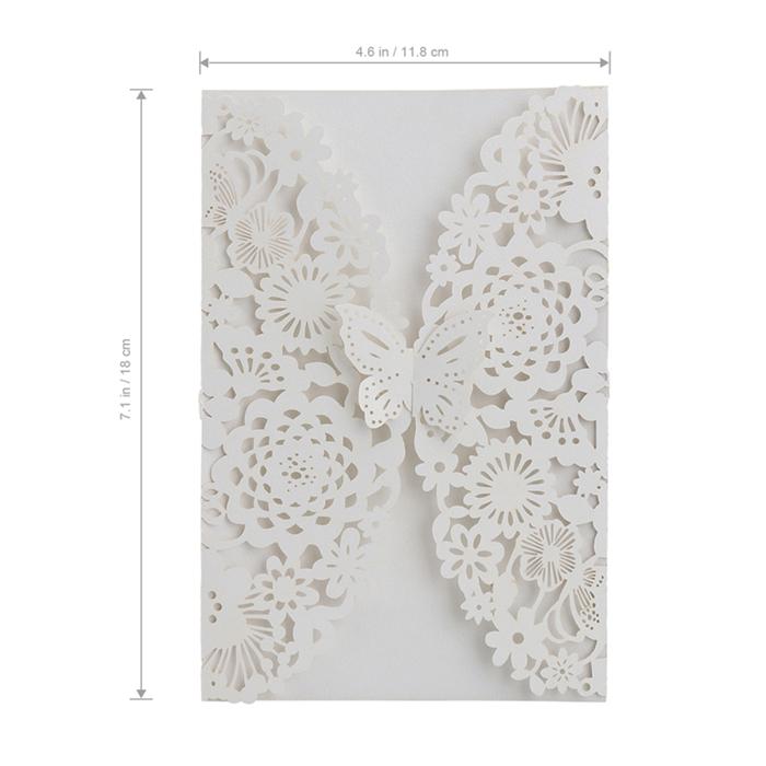 10 шт. вертикальный лазерная резка бабочка приглашения карты наборы для свадебные душ день рождения