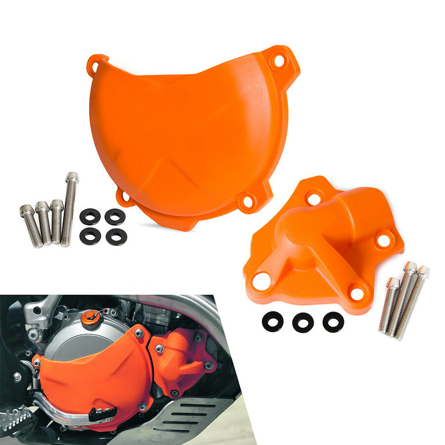 For <font><b>KTM</b></font> Exc-f <font><b>350</b></font> 4t 2012 <font><b>2013</b></font> 2014 2015 2016 Orange Clutch Cover+water Pump Cover Guard Protector image
