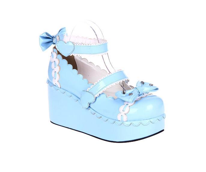 Bombas púrpura blue rosado red Zapatos Lolita Impresión Chica Angelical Encaje Pl Negro Vestido Mori Bowtoe Princesa Cuñas Mujeres Señora Tacones Mujer Cosplay Altos SqSRPHpF