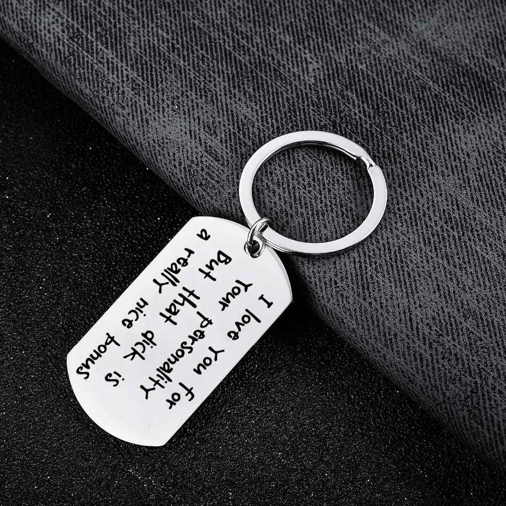 75da3de020 ... Stainless Steel Keychain I Love You For Your Personality Keyring Husband  Wife Lovers Boyfriend Girlfriend Key ...
