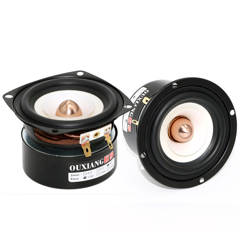 2019 New 2PCS Ouxiang QY-303 3'' Full Frequency Speaker White Paper Cone Aluminum Bullet Shielded Better Bass Sound 4/8ohm 15W