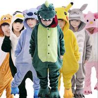 Kids Flannel Stitch Tiger Pikachu Panda Unicorn Pink Pig Dragon Sullivan Pajamas Unisex Cosplay Animal Costume