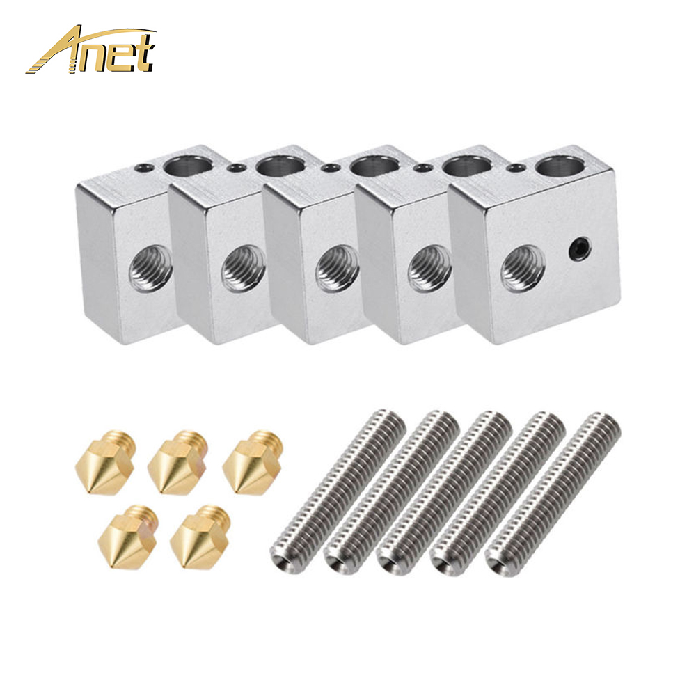 Anet A8 A6 15pcs 1.75mm Throat Tube+0.4mm Extruder Nozzle Print Heads +M6 Heater Block Hotend For 3d Printer Parts