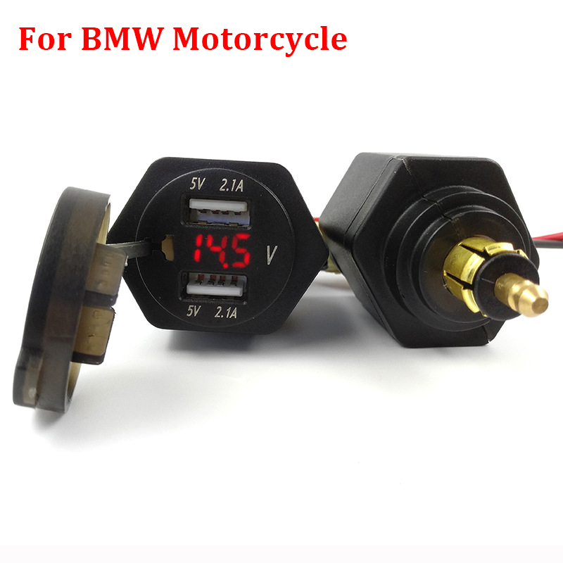 Port Charger Adapter With Digital Display: 4.2A Motorcycle Digital Display Dual USB Charger Port
