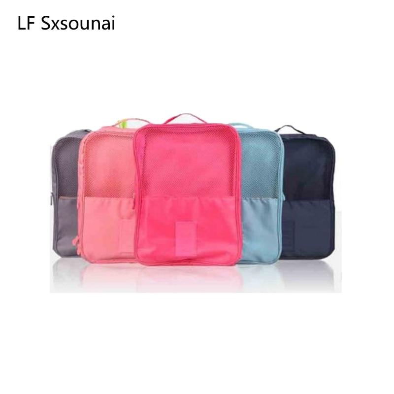 LF Sxsounai Oxford cloth shoe storage bag waterproof travel shoe finishing bag portable multi-function 3 shoes bag women men